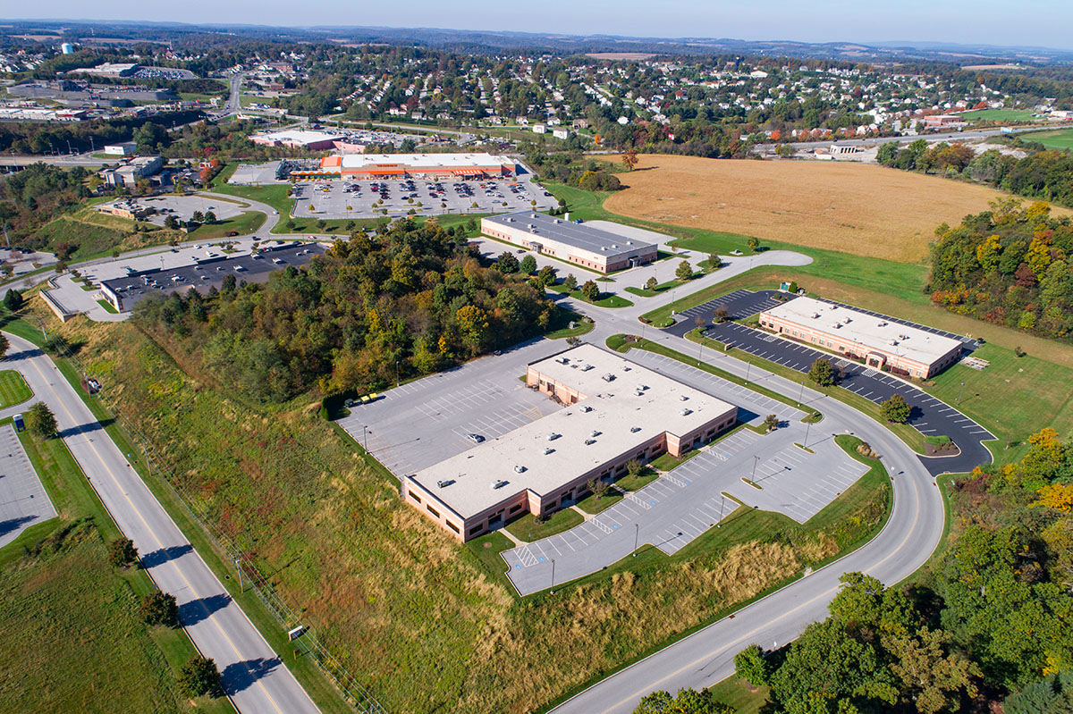 aerial view of the Stewart Companies' buildings and grounds
