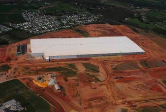 aerial view of commercial warehouse property